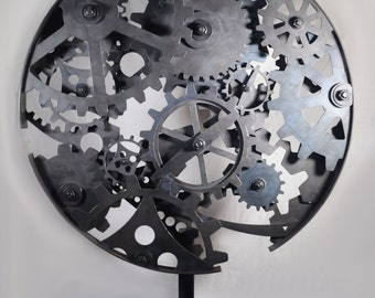 Steel Circle of Cogs and Gears sculpture