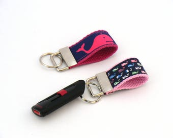 Whale Keychain, USB Charm, Key Fob, Bag Charm, Zipper Charm, Nautical, Cape Cod, Choose Your Design
