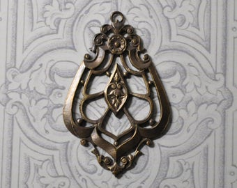 Vintage French Brass Die Cast Teardrop Filigree Pendant 406J