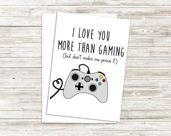 Funny Anniversary Card - Geeky Love Card - Card for Girlfriend - Funny Mothers Day Card - Fathers Day Card - I Love You More Than