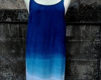 Handmade Indigo style spaghetti strap long dress