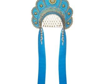 "Russian Traditional Folk Costume - Headdress Kokoshnik ""Elena"" light blue #510"