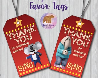 Sing Movie Favor Tags, Sing Movie Favour Tags, Sing Movie Party Decoration, Sing Movie Thank You Tags, Sing Favours, Sing Favors, Sing Tags