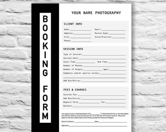 Booking Form | Photography Contract Form | Session Booking Form | Booking Form Template | PSD