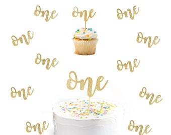 Glitter One Party Set - 12 ct One Cupcake Topper - 10 ct One Confetti - 1 One Cake Topper First Birthday Decoration Birthday Cake Topper