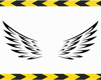 Angel wings wall decor SVG Decal stickers Cut files for Cricut DXF PDF Png