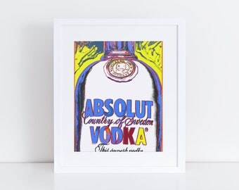 Andy Warhol Style Absolute Vodka Print - Eclectic Home Decor - Andy Warhol Art Print