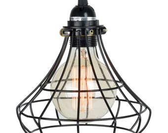 Pendant Lighting by Rustic State With Industrial Style Sphere Cage  Lamp 15 feet Plug-in Fabric Cord with Switch and One Edison Bulb , Black