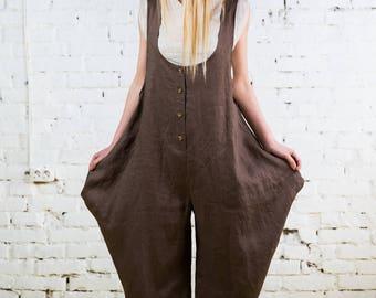 Linen jumpsuit,loose linen jumpsuit,linen romper,linen overall,full leg jumpsuit,oversize linen jumpsuit,woman jumpsuit/LJ0002