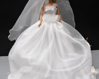 White Wedding Party Gown Dress Up Outfit Fashion Costumes For Barbie Dolls Clothing 12 Inch