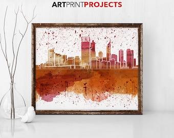 Perth Skyline, Perth Australia Cityscape Art Print, Watercolor print, Poster, Travel, Wall art, abstract, urban print, ArtPrintProjects