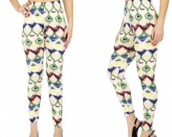 Watercolor Leggings Blue Printed Leggings White Leggings Womens Leggings High Waist Leggings Green Print Leggings Yoga FREE U.S. SHIPPING