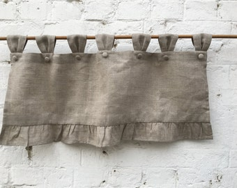 Linen Farmhouse Ruffled Curtains Cottage Ruffle Valance Simple Rustic Grey  French Country Window Treatment Natural Linen