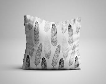 Throw Pillow - Feather Pillow - Black and white Pattern Pillow with insert - Boho Chic Decor Pillow - Bohemian Pillow