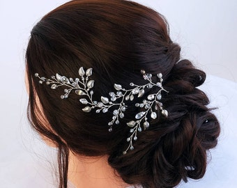 Silver Leaves Hair Vine -Wedding hair vine -Hair vine Bridal -Long hair vine- Crystal hair vine-Bohemian bridal headpiece- Hair vine wedding