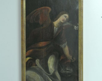 "Very Rare Original Italian Renaissance School of Il Tinteretto Painting (1420-1600) - Oil on Canvas - 44"" x 18"""