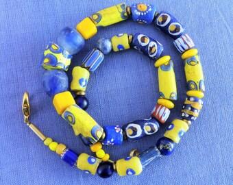 African Beads, Ethno Style, Krobo Glass Beads, Millefiori Beads (Murano Trade Beads), Bronze Beads