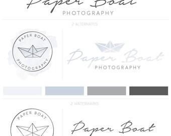 Premade Logo Kit Logo acuarela, Premade Blog Logo, filigrana fotografía, lindo Logo, Paperie Logo, niños Logo, Logo Whimsical, Origami