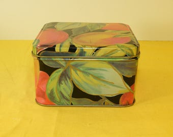 Vintage Square Peach Tin, Collectible Square Craft Supplies,Fruit Tin, Vanity Storage Box,Red Green Orange Tin, Colorful Decorative Tin