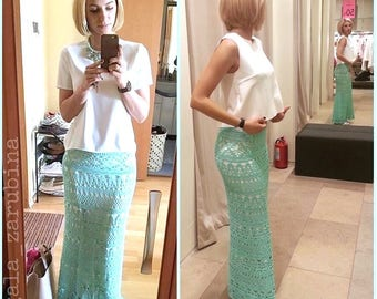 "Crochet Maxi skirt pattern detailed tutorial summer cotton for woman ""Penelope"""