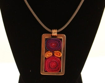 Copper rectangular pendant with inselt hand dyed wool
