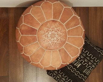 Authentic Moroccan Leather  Pouf,Handcrafted Leather Pouffe ottoman ,Footstool,P58