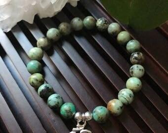 Om Charm African Turquoise Yoga Mala Beaded Bracelet. Healing Natural Gemstone Bracelet. Stretch Bracelet. Meditation Bracelet. Wrist Mala.