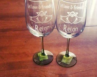 Claddagh Wine glasses, Celtic Wine Glasses, Irish Wine Glasses, Custom Wine Glass, Claddagh Gifts, Custom Gifts, Celtic Christmas Gift