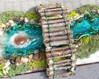Fairy Koi Fish Pond Fairy Bridge Miniature Fairy Garden Accessories Outdoor Koi Pond Gnome Home Resin Water Terrain