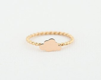 14K Rose Gold Cloud Ring with Twisted Rope Band/ Made to Order Minimalist Ring/ Stackable Cloud Gold Ring/ Graduation Gift