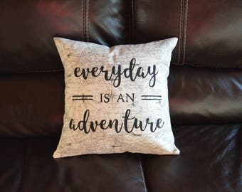 Everyday is an Adventure Travel Quote Pillow Airplane Decorative Pillow