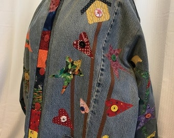 Appliqué Jean Jacket, Plus Size Artisan Wear, Colorful Bird House Coat,  OOAK