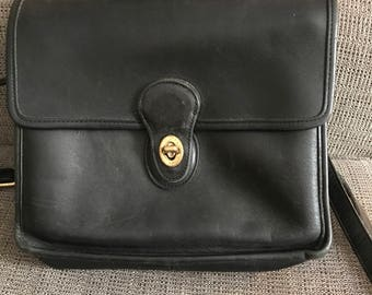 Vintage Coach Willis Bag Black, Cross Body, Large Purse, Small Briefcase, Made in USA