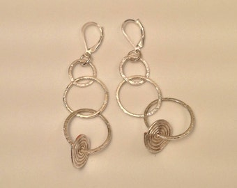 Hammered Silver Hoop Earrings with Silver Spiral
