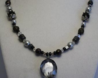 Smokey crystal beaded necklace
