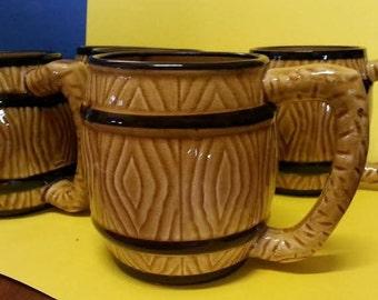 Vintage Wood-grain/Barrel Ceramic Mugs (5)