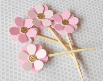 Pink & Gold flower cupcake toppers | Pink and gold party decorations | Bridal Shower Decorations | Baby cupcake toppers