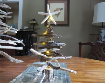 Tree made from driftwood with Starfish on top w/ LED Lights