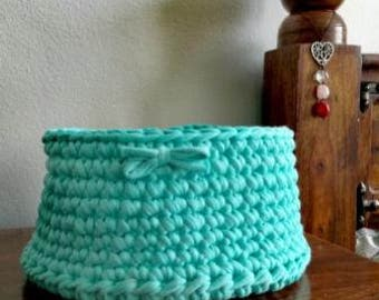 crochet knitted yarn basket turquoise home decor organizer storage make up modern handmade basket for accessories