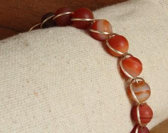 Burnt Orange Frosted Agate Bracelet