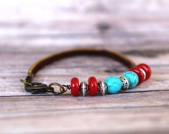 Beaded bracelet, boho bracelet, bead bracelet, leather bracelet, leather bracelet for women, boho leather bracelet