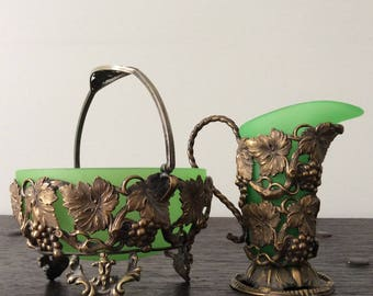 Art Nouveau German Creamer & Sugar Bowl  / Antique / Squirrel / Wine Leaves / Green Glass insert /