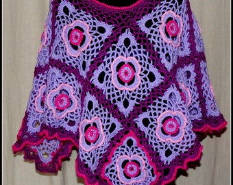 Broad wool poncho made crochet all in shades of violet, rose and Garnet