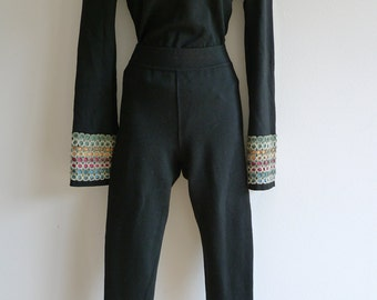 ALAIA vintage black knit body and cropped leggings with rainbow cuffs