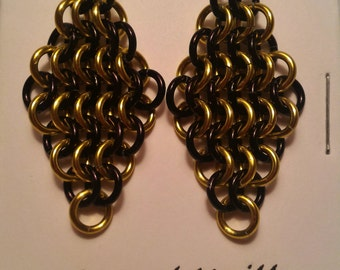 Yellow/Black Chain Maille (European 4-1) Earrings