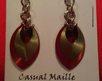 Harvest/Gold/Red 3 Graduated Scale Earrings
