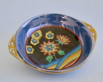 Art Deco Decor, Noritake Morimura, Blue Lusterware Dish With Handles, Handpainted Japan Serving Dish, Candy Dish