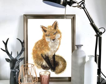 Watercolour Fox Print, Illustration, Wall Art, Drawing A4, A5