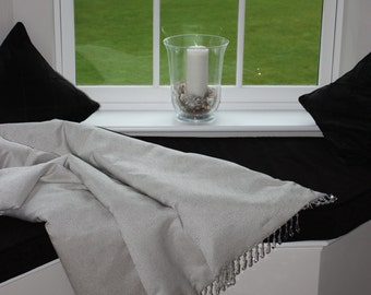Beautiful handmade bed throw in silver grey contemporary textured fabric