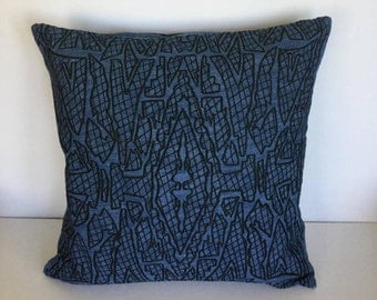 Embroidered denim pillow